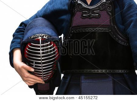 Close up of kendo men in hands of kendo fighter, isolated on white. Japanese martial art of sword fighting