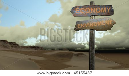Sign Direction Economy-enviroment