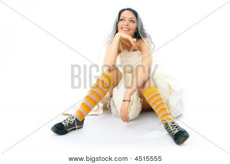 Dreamy Bride Wearing Running Shoes And Socks