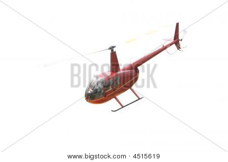 Takeoff Of Red Helicopter Isolated Over White