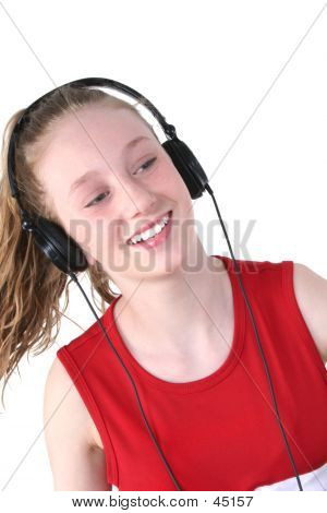 Cute Teen Girl Wearing Headphones
