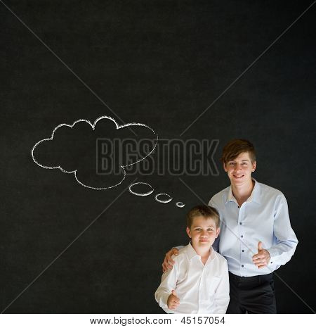 Thumbs Up Boy Dressed As Business Man And Teacher With Thought Thinking Chalk Cloud