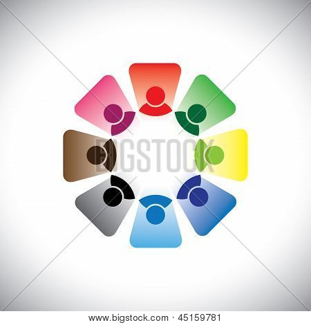 Colorful Multi-ethnic Corporate Workers Team- Vector Graphic