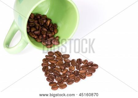 Cup And Coffee Beans Heart