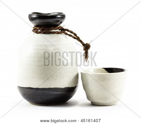 Ceramic Jug And Cup Isolated On White Background