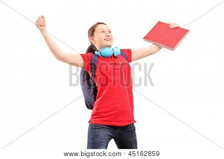A happy female student with raised hands gesturing happiness isolated against white background
