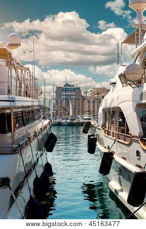 Luxury Yachts In Port Le Vieux.  Cannes, France