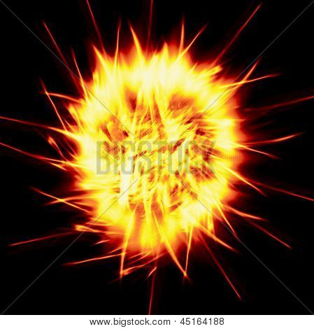 Fiery Ball On A Black Background