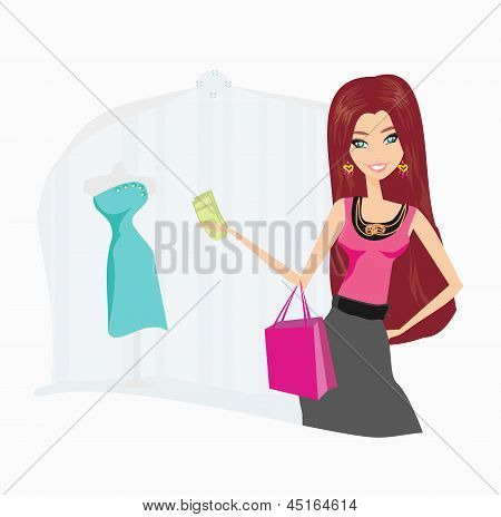 Fashion Shopping Girl With Shopping Bags