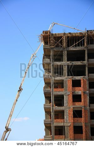 Construction Of Building With Cement Mixture Machine