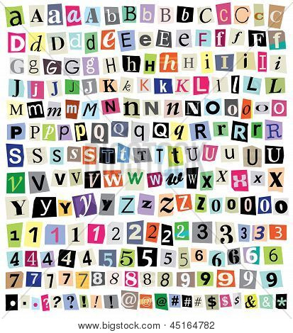 Vector Ransom Note- Cut Paper Letters, Numbers, Symbols
