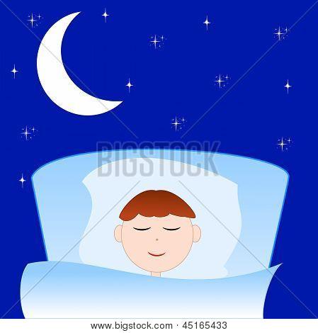 The Drawn Boy Sleeps In A Bed