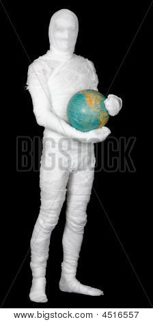 Man In Costume Mummy And Terrestrial Globe