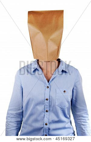 A Person With Paper Bag Head