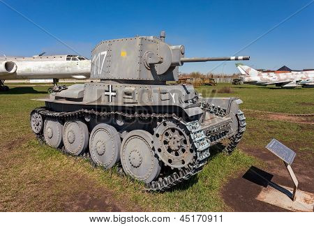 Togliatti, Russia - May 2: Old Czech Tank Lt Vz. 38 - Pzkpfw 38(t) At The Exhibition In The Technica