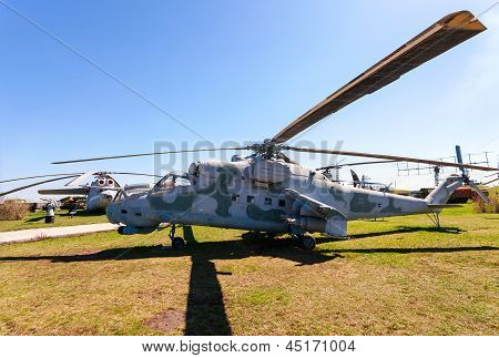 Togliatti, Russia - May 2: Military Helicopter Mi-24 At The Exhibition In The Technical Museum On Ma