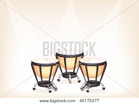 Beautiful Classical Timpanis On Brown Stage Background