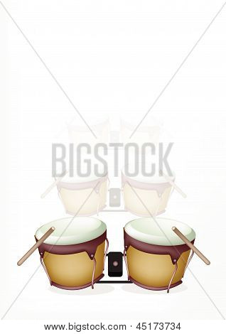 Bongo Drum With Sticks On White Background
