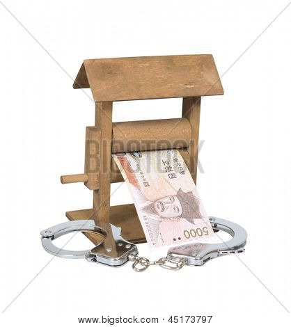 Money laundering. Won bill in the wringer with handcuffs isolated over white, clipping path included.