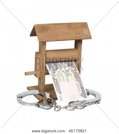 Money laundering. Nigerian Naira bill in the wringer with handcuffs isolated over white, clipping path included.