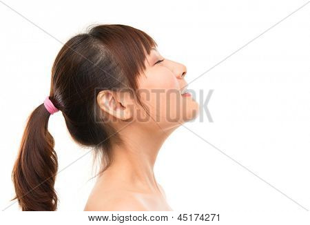 Asian skincare woman side view deep breath refreshing, skin care concept. Facial close up of beautiful mixed race Asian. Girl isolated on white background