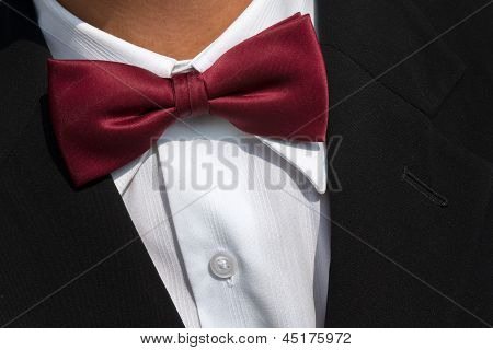Red Bow Tie On White Shirt