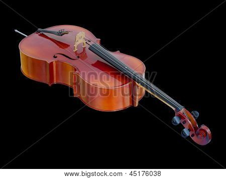 Cello On Black Background Isolated
