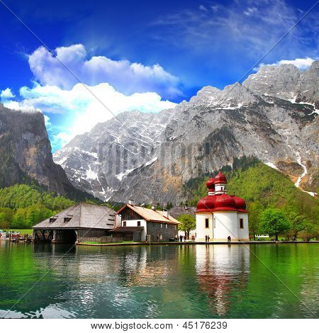 beautiful Alpen scenery - crystal lake Konigsee  with small church