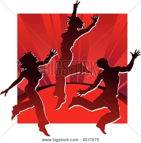 Dancing People In Red