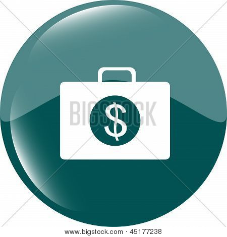 Us Dollar Blue Glossy Icon On White Background, art illustration
