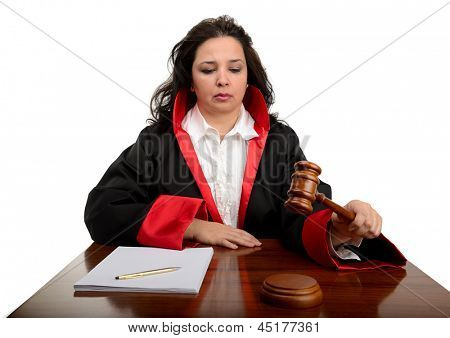 Female judge striking the gavel to keep silence isolated on white background