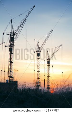 Industrial construction cranes  silhouettes on sunset