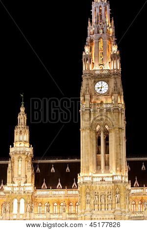 Night scene with town hall in Vienna, Austria