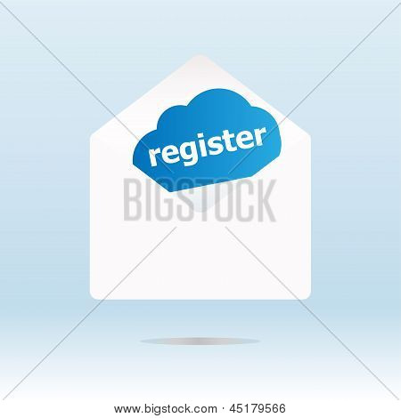 Register Word On Blue Cloud On Open Envelope