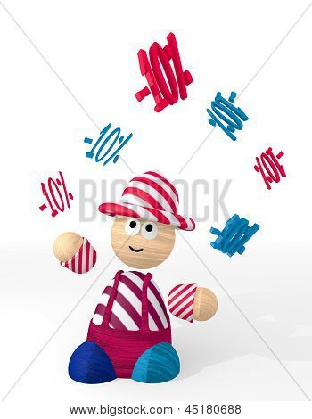 3d graphic of a -10 discount icon juggled by a clown
