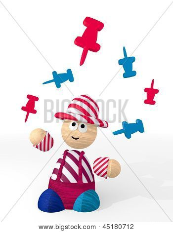 3d render of a funny pin sign juggled by a clown