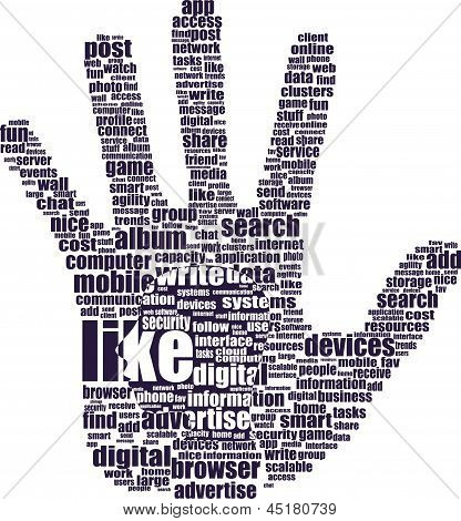 Like Or Thumb Up Symbol Info-text Graphics And Arrangement Concept On White Background