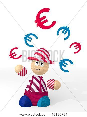 3d render of a financial Euro symbol juggled by a clown