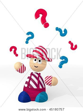 3d render of a undissolved question sign juggled by a clown