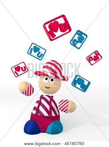 3d graphic of a cute I love you sign juggled by a clown
