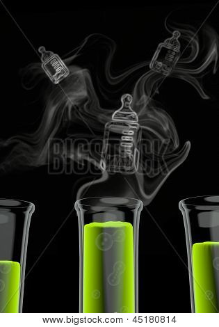 3d render of a isolated baby food symbol formed by smoke