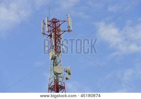 telecommunication antenna on a blue sky