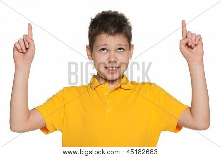 Cheerful Boy Showing His Fingers Up