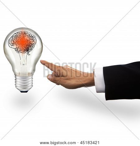 Hand Of Business Man Pointing To Light Bulb With Red Smart Brain In Side