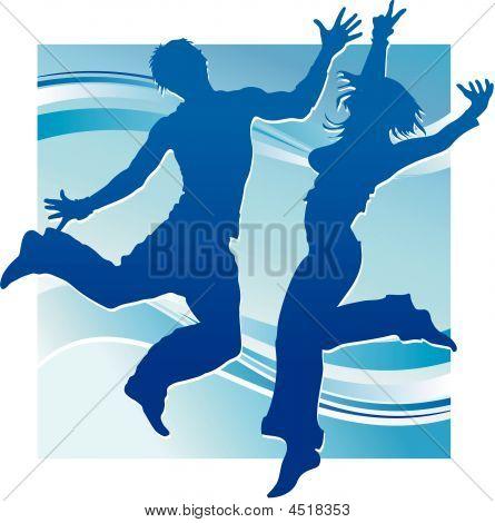 Dancing People In Blue
