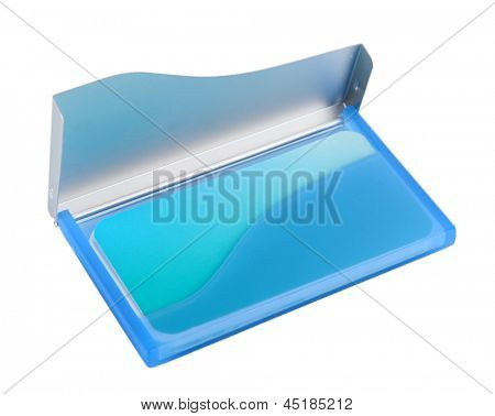 Blue business card holder isolated on white