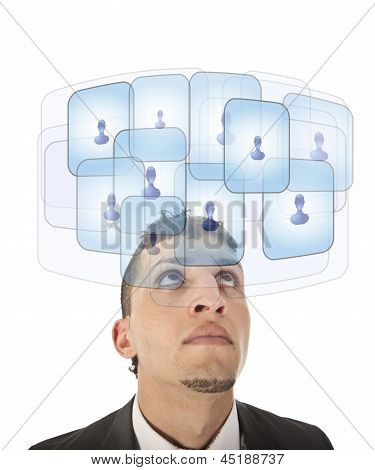 Young Man Looking At His Virtual Friends Isolated On White