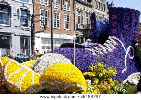 Haarlem, The Netherlands - April 21 2013: Shoe With Flowers At Flower Parade On April 21 2013 In Haa