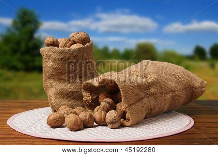 Bag With Nuts On A Table