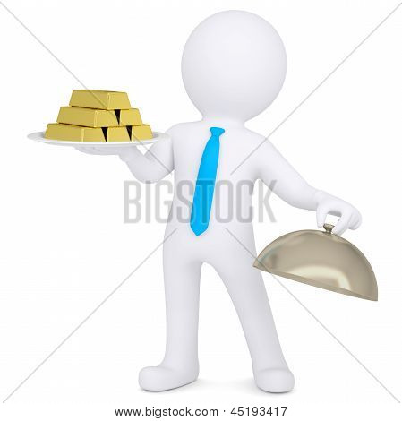 3d white man keeps on a platter of gold bullion